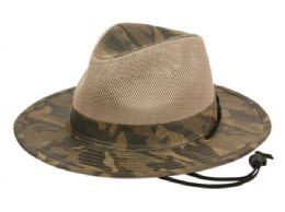 12 Wholesale Youth Outdoor Camouflage Safari Hats With Mesh Crown