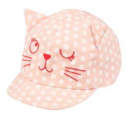 24 Wholesale Kids Cotton Cat Cap