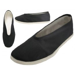 36 Units of Men's Slip On V Top Cotton Upper & White Cotton Out Sole Kung Fu Tai Chi Shoes - Men's Footwear