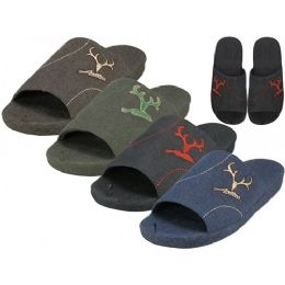 36 Units of Men's Satin Open Toes Slippers With Antler Embroidered Upper House Slippers - Men's Slippers