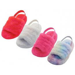 24 Wholesale Youth's Soft Fuzzy Plush Upper With Elastic Sling Back House Slippers