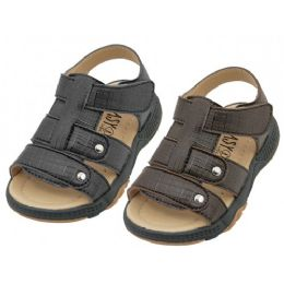24 of Boys Leather Upper Velcro Sandals