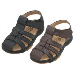24 of Boys Pu Leather Upper Velcro Sandals