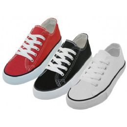 24 Wholesale Youth's Comfortable Cotton Canvas Lace Up Shoes Assorted