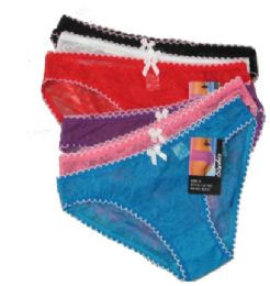 48 Bulk Ladies' Nylon Frilled Panty