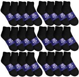 72 Bulk Yacht & Smith Mens Lightweight Cotton Sport Black Quarter Ankle Socks, Sock Size 10-13