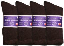 48 Units of Yacht & Smith Women's Cotton Diabetic NoN-Binding Crew Socks - Size 9-11 Brown - Women's Diabetic Socks