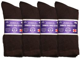 72 Units of Yacht & Smith Women's Cotton Diabetic NoN-Binding Crew Socks - Size 9-11 Brown - Women's Diabetic Socks