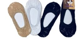 96 Units of Ladies' Lace Foot Cover One Size Fits Most In Beige - Womens Slipper Sock