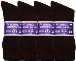 24 Units of Yacht & Smith Men's King Size Loose Fit Diabetic Crew Socks, Brown, Size 13-16 - Big And Tall Mens Diabetic Socks