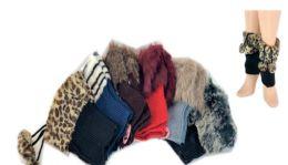 24 Units of Ladies' Faux Fur Leg Warmer One Size - Womens Leg Warmers