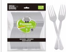 96 Units of Ideal Dining 48 Count Clear Fork - Disposable Cutlery