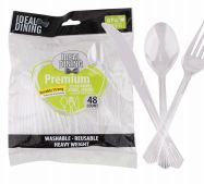 96 Units of Ideal Dining 48 Count Clear Combination Cutlery - Disposable Cutlery