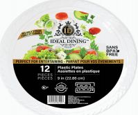 108 of Ideal Dining Plastic Plate 9 Inch White 12 Count
