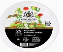 48 of Ideal Dining Plastic Plate 9 Inch White 25 Count