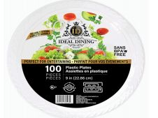 12 of Ideal Dining Plastic Plate 9 Inch White 100 Count