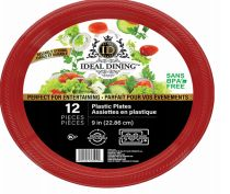 108 of Ideal Dining Plastic Plate 9 Inch Red 12 Count