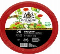 48 of Ideal Dining Plastic Plate 9 Inch Red 25 Count