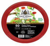 24 of Ideal Dining Plastic Plate 9 Inch Red 50 Count
