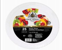 72 of Ideal Dining Plastic Plate 7 Inch White 25 Count