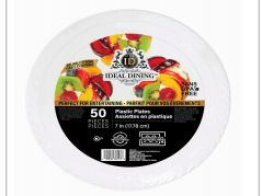 48 of Ideal Dining Plastic Plate 7 Inch White 50 Count