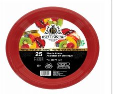 72 of Ideal Dining Plastic Plate 7 Inch Red 25 Count