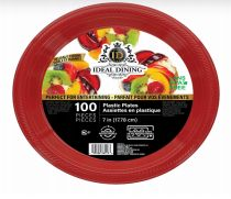 24 of Ideal Dining Plastic Plate 7 Inch Red 100 Count