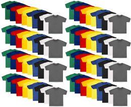 72 of Kids Unisex Cotton Crew Neck T-Shirts, Assorted Sizes And Colors, Bulk Wholesale