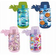 24 Units of Splash Plastic Bottle Kids 22 Oz Flip Cap With Necklace - Drinking Water Bottle