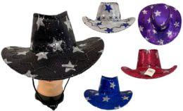 24 Wholesale Girl's Sequins Cowboy Hat Assorted Colors