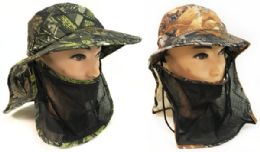 48 Wholesale Summer Hunting Fishing Hat Camo With Neck And Face Cover