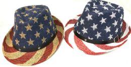 12 Wholesale American Flag Stars And Stripes Print Fedora Hats
