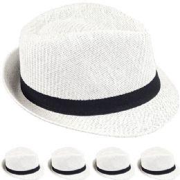 24 Wholesale Elegant White Toyo Straw Trilby Fedora Hat