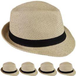 24 Wholesale Elegant Brown Toyo Straw Trilby Fedora Hat