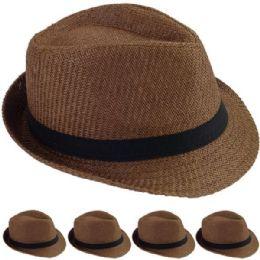 24 Wholesale Elegant Coffee Color Toyo Straw Trilby Fedora Hat 60cm