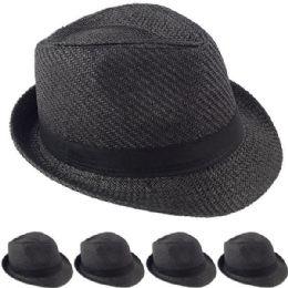 24 Wholesale Elegant Black Color Toyo Straw Trilby Fedora Hat 60cm
