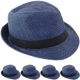 24 Wholesale Elegant Blue Color Toyo Straw Trilby Fedora Hat 60cm