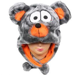 36 Units of Cute Plush Mouse Animal Character Earmuff Hat - Winter Animal Hats