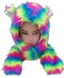 12 Units of Soft Faux Fur Rainbow Animal Hat With Builtin Paws Mittens - Winter Animal Hats