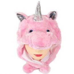 24 Units of Cute Plush Pink Unicorn Animal Character Earmuff Hat - Winter Animal Hats