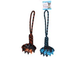 18 Units of 17 in Dog Rope Pull Toy with Spike Rubber Football Chew - Pet Toys