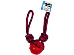 6 Units of 25 in Pull Rope Dog Toy with Spike Center Ball Chew - Pet Toys