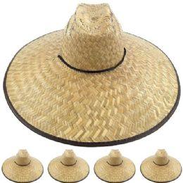 12 Units of Large Brim Bamboo Straw Pescador Man Sun Hat - Sun Hats