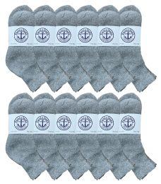 12 Bulk Yacht & Smith Mens Lightweight Cotton Sport Gray Quarter Ankle Socks, Sock Size 10-13