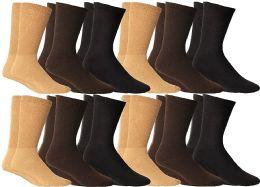 12 Units of Yacht & Smith Women's Cotton Diabetic NoN-Binding Crew Socks - Size 9-11 Assorted Brown, Khaki, Navy - Women's Diabetic Socks