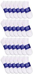 24 Bulk Yacht & Smith Mens White Lightweight Cotton No Show Ankle Socks, Sock Size 10-13