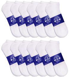 12 Bulk Yacht & Smith Mens White Lightweight Cotton No Show Socks, Sock Size 10-13
