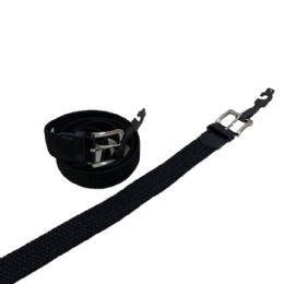 24 of Braided Stretch Belt Black All Sizes