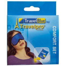 120 Bulk Eye Mask & Ear Plugs Set Travel Blue Boxed Peggable