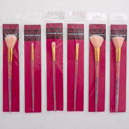 48 Bulk Makeup Brush W/diamond Handle 6ast Styles 7in H Pbh Insert